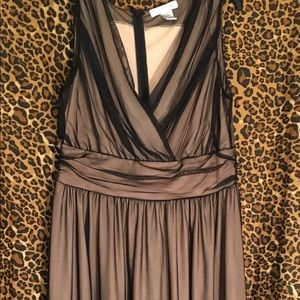 Grecian dress with black overlay and tan lining